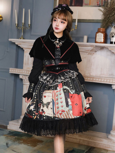 Gothic Lolita Outfits Black Lace Up Lace Lace Vestido de mangas compridas