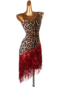 Costume da ballo latino Leopard Paillettes Donna Set Lycra Spandex Dress Dancing Wear