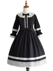 الحلو لوليتا البروتوكول الاختياري اللباس الأسود الكشكشة لوليتا فساتين قطعة واحدة