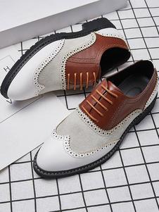 أحذية اللباس كتلة اللون أكسفورد للرجال للمناسبات الرسمية