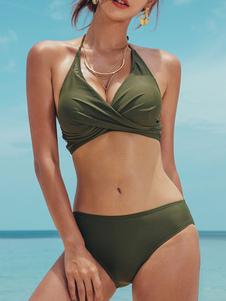 Bikini Verde scuro con collo arrotondato Costumi da Bagno Costumi vita alta monocolore Abbigliamento  Donna sexy a pieghe scollato sulla schiena