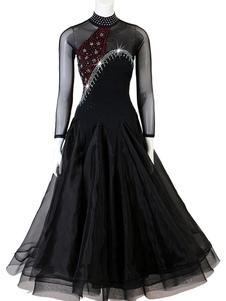 Trajes de dança de salão Rhinestone Bead Backless Black Women Lycra Spandex Dress Dance Wear