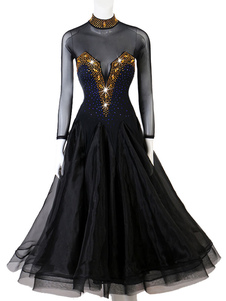Trajes de dança de salão Rhineston Backless Semi Sheer Dress Dance Dress