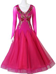 Traje de dança de salão bordado plissado rosa vermelha mulheres dança desgaste