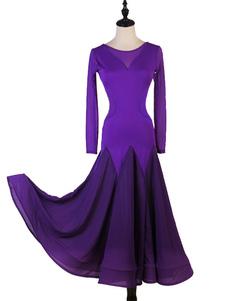 Trajes de dança de salão Roxo Mulheres Lycra Spandex Set Vestido de Dança Desgaste