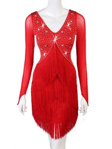 فساتين الرقص اللاتينية Rhines الخامس الرقبة هامش اللباس النساء زي الرقص