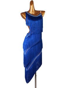 Vestidos de dança latina Fringe Rhinestone Layered Ruffle Women Latin Dancer Dancing Costume