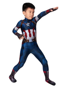 Traje de Capitán América Avengers Age of Ultron Jumpsuit Deep Blue Film Marvel Comics Kid Costume Zentai