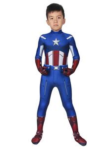 Kid Capitão Americano Cosplay Zentai Steve Rogers Macacão de Cosplay
