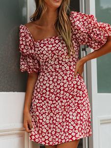 الأزهار الصيف اللباس ساحة الرقبة طباعة نفخة حمراء كم فستان الشاطئ
