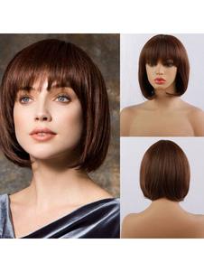 Женские парики из натуральных волос Кофе Браун Смешанные волосы Гламурные короткие парики из человеческих волос