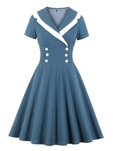 Vestido vintage 1950 marinheiro azul mangas curtas colar de abertura de cama vestido de balanço