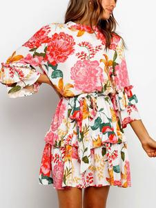 Vestido de verão floral jóia pescoço impressão folho vestido de praia das mulheres