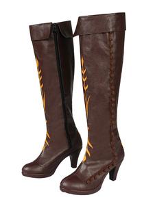 Замороженная косплей анна темно-коричневый косплей искусственная кожа косплей обувь