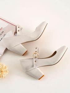 Zapatos de tacón medio bajo para mujer Vintage Mary Jane Retro Tacones gruesos con punta redonda Bombas