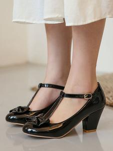 Tacchi medio-bassi per donna Benda tipo T Splendida punta tonda Scarpe tacco grosso con fiocchi