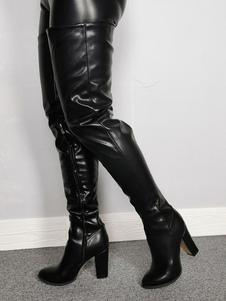 Женские сексуальные сапоги с бедрами с круглым носкомЧемный каблук Rave Club Черные сапоги