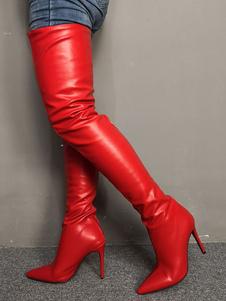 """Sobre o joelho botas dedo apontado vermelho 4.3 """"salto agulha coxa botas altas para as mulheres"""