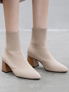 """Mulheres botas de malha apontou dedo do pé flare salto 2.6 """"botinhas de meia"""