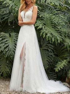 Abito da sposa semplice guaina gioiello collo senza maniche diviso abiti da sposa anteriori