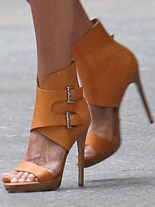 Sandalias de vestir para mujer Tacón de aguja Sandalias elegantes con punta abierta con hebillas