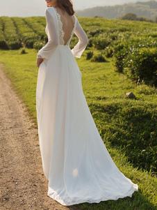 Vestido de noiva simples Lycra Spandex Bateau Neck mangas compridas Lace A Line vestidos de noiva