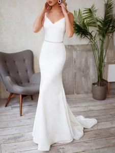 Vestidos de novia sencillos de silueta sirena Marfil con correa spaghetti sin mangas cintura natural con faja de elastano de marca LYCRA
