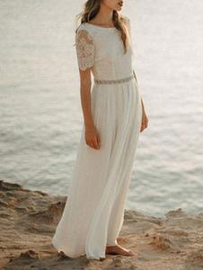 Vestido de novia simple Una línea Cuello joya Encaje Manga corta Hasta el suelo Gasa Vestidos de novia de boda en la playa