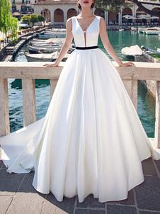 Винтажные свадебные платья V шеи без рукавов атласная ткань длиной до пола, принцесса силуэт свадебное платье