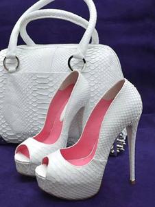 أحذية حزب تو زقزقة المرأة أحذية عالية الكعب مضخات الأفعى البيضاء طباعة مساء