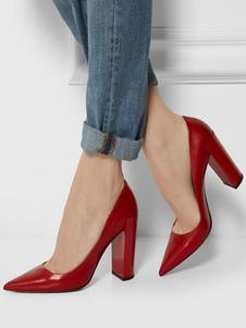Женские базовые туфли на высоком каблуке с острым носком на толстом каблуке красного цвета