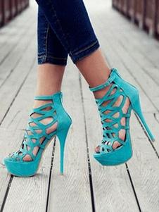 Женские сексуальные сандалии на платформе на каблуке из замши