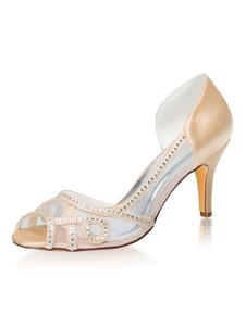 Zapatos de fiesta de tacón alto para mujer Zapatos de noche con diamantes de imitación de champán Peep Toe