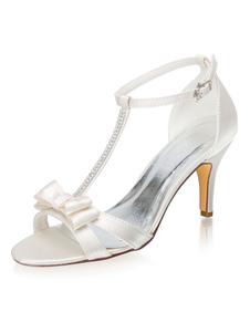 Sapatos de casamento elegantes Cetim marfim sandálias tipo T salto agulha sapatos de noiva com laço