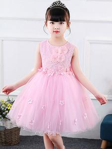 Vestidos da menina de flor Jewel Neck mangas Arcos Kids Party Dresses
