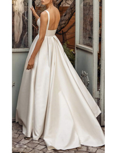 Vestidos de novia de época Cuello cuadrado Sin mangas Cintura natural Satén Tela Corte Tren Faja Vestido de novia