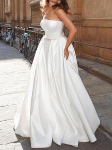 Винтажное свадебное платье без бретелек без рукавов из натуральной талии атласная ткань длиной до пола, банты, традиционные платья для невесты