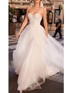 Simples Vestido de Noiva Tule Coração Pescoço Sem Mangas A Linha Lace Flora Vestidos de Noiva Com Trem
