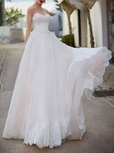Querida vestido de noiva sem mangas até o chão vestidos de noiva com trem