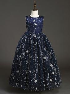 Vestidos da menina de flor jóia pescoço tule sem mangas comprimento do tornozelo faísca lantejoulas princesa silhueta bordado formal crianças pageant vestidos