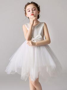 Платья для девочек-цветочниц Тюль шеи без рукавов длиной до колен Принцесса Силуэт Луки Дети Платья для вечеринок