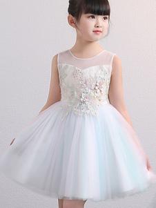 Платья для девочек-цветочниц без рукавов Вышитые детские праздничные платья