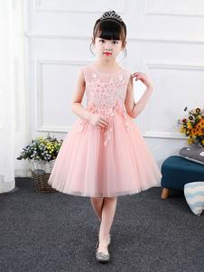 Платья для девочек-цветочниц Безрукавка Вышитые платья для вечеринок для детей