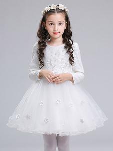 Платья для девочек-цветочниц с длинным рукавом с цветочным принтом Вечернее платье для детей