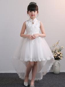 Платья для девочек-цветочков Дизайн декольте Тюль без рукавов длиной до колен Высокий низкий силуэт принцессы Вышитые детские праздничные платья
