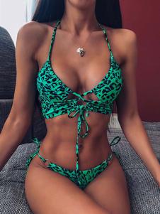 Bikini traje de baño para mujer verde con cordones verano sexy trajes de baño