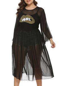 Vestido de talla grande para mujer Vestido transparente de labios negros