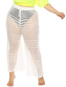 Плюс Размер Купальники Прикрыть Брюки Женщины Drawstring Белый Sheer Вязание Крючком Низ