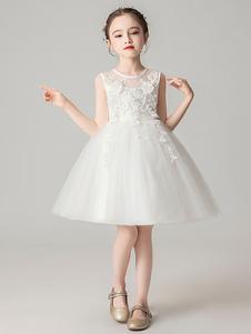 Платья для девочек-цветочниц Шея без рукавов Луки Детские платья для вечеринок