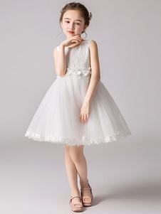 زهرة فتاة فساتين جوهرة الرقبة تول أكمام طول الركبة الأميرة خيال الزهور الرسمية فساتين مهرجان للأطفال